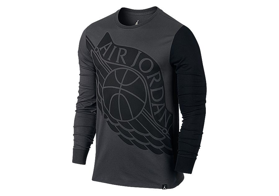 Jordan Sleeve Tee Long Anthracite Air Nike Wings Per Stretched pqwRTOH