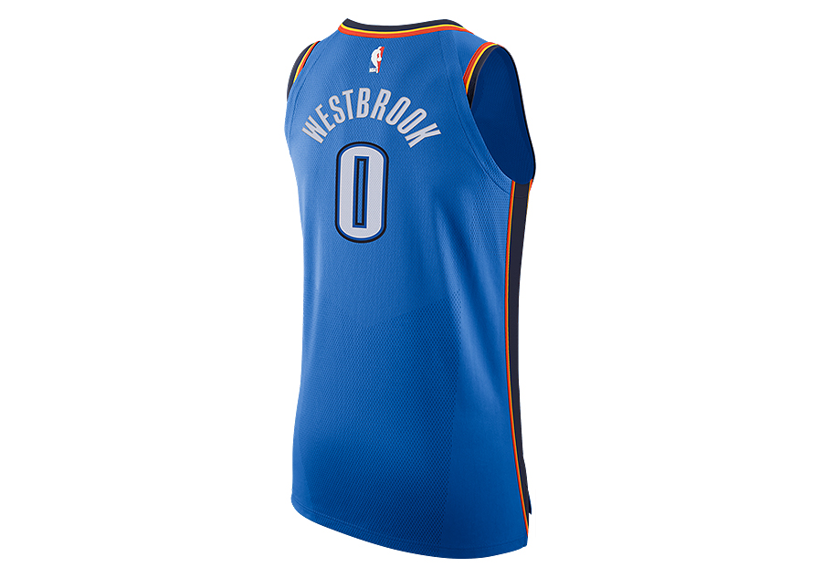 e74759f65dd NIKE NBA CONNECTED OKLAHOMA CITY THUNDER RUSSELL WESTBROOK AUTHENTIC JERSEY  ROAD SIGNAL BLUE