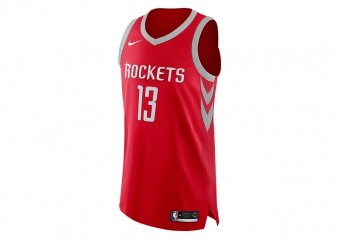 NIKE NBA HOUSTON ROCKETS JAMES HARDEN AUTHENTIC JERSEY ROAD UNIVERSITY RED
