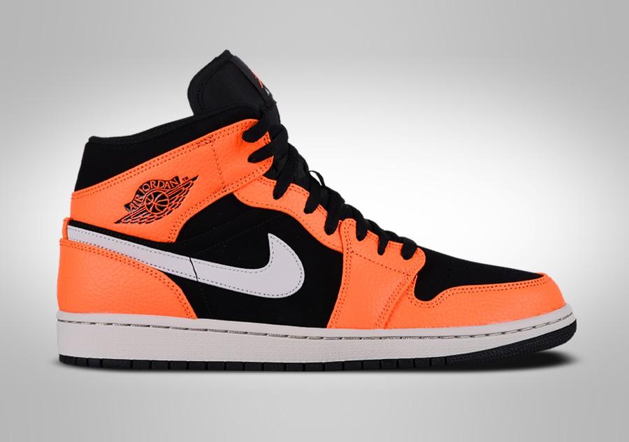 best sneakers f2748 4af79 NIKE AIR JORDAN 1 RETRO MID BLACK ORANGE