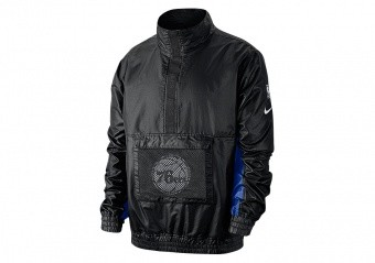 NIKE NBA PHILADELPHIA 76ERS LIGHTWEIGHT COURTSIDE JACKET BLACK