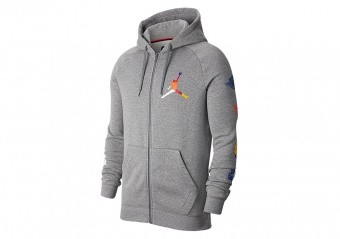 NIKE AIR JORDAN JUMPMAN RIVALS FULL-ZIP HOODIE CARBON HEATHER