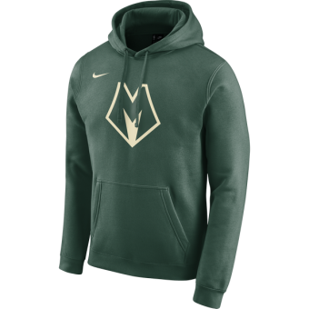 NIKE NBA MILWAUKEE BUCKS CITY EDITION LOGO HOODIE FIR
