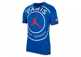 NIKE AIR JORDAN PSG PARIS SAINT-GERMAIN LOGO TEE GAME ROYAL