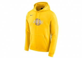 NIKE NBA LOS ANGELES LAKERS CITY EDITION LOGO FLEECE HOODIE AMARILLO