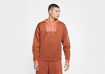 NIKE AIR JORDAN 23 ENGINEERED 1/2 ZIP PULLOVER HOODIE DARK RUSSET