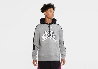 NIKE AIR JORDAN JUMPMAN CLASSICS FLEECE PULLOVER HOODIE CARBON HEATHER