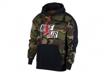 NIKE AIR JORDAN JUMPMAN CLASSICS CAMO FLEECE PULLOVER HOODIE MEDIUM OLIVE