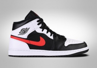 NIKE AIR JORDAN 1 RETRO MID BLACK CHILE RED WHITE